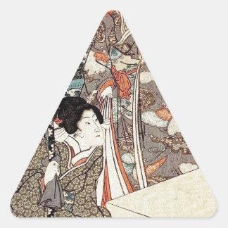 Alte Rolle japanischen Vintagen ukiyo-e Geisha Dreieckiger Aufkleber