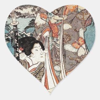 Alte Rolle japanischen Vintagen ukiyo-e Geisha Herz-Aufkleber