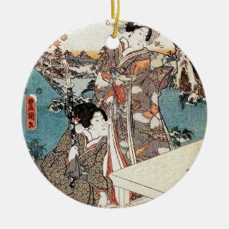 Alte Rolle japanischen Vintagen ukiyo-e Geisha Keramik Ornament