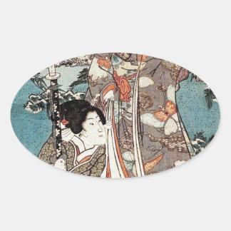 Alte Rolle japanischen Vintagen ukiyo-e Geisha Ovaler Aufkleber