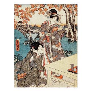 Alte Rolle japanischen Vintagen ukiyo-e Geisha Postkarte