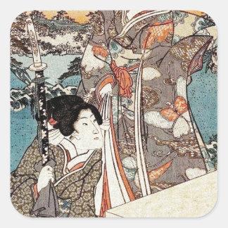 Alte Rolle japanischen Vintagen ukiyo-e Geisha Quadratischer Aufkleber