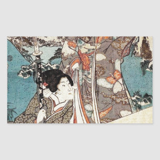 Alte Rolle japanischen Vintagen ukiyo-e Geisha Rechteckiger Aufkleber