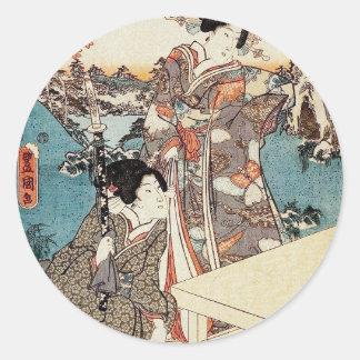 Alte Rolle japanischen Vintagen ukiyo-e Geisha Runder Aufkleber