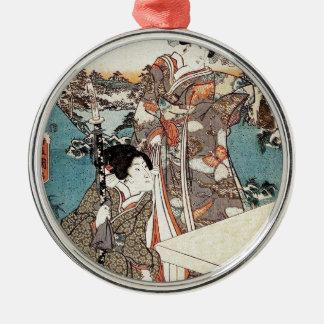 Alte Rolle japanischen Vintagen ukiyo-e Geisha Silbernes Ornament