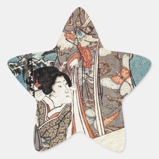 Alte Rolle japanischen Vintagen ukiyo-e Geisha Stern-Aufkleber