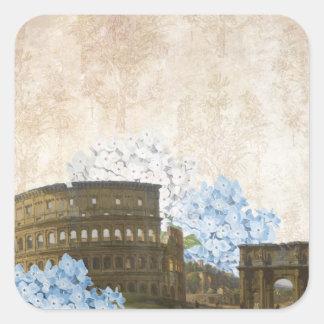 Alte Rom blaue Hydrangea-Aufkleber Quadrat-Aufkleber