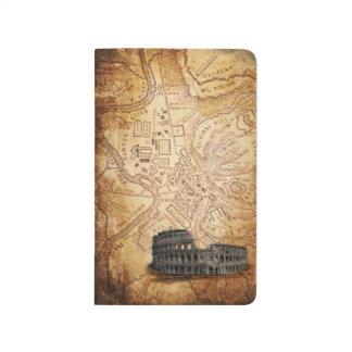 Alte Rom-Karte und Colosseum Taschen-Zeitschrift Taschennotizbuch