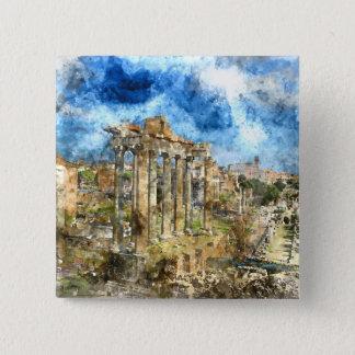 Alte römische Ruinen in Rom Italien Quadratischer Button 5,1 Cm