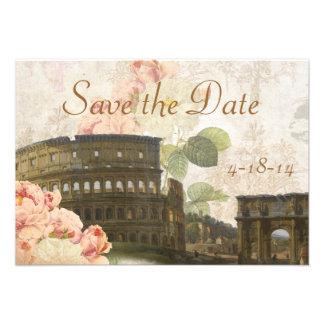 Alte rosa Rosen-Vintage Save the Date Karte Roms Personalisierte Ankündigungskarte