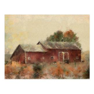 Alte rote Scheunen-Landschaftspostkarte Postkarte