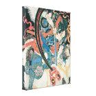 Alte Samurais, die eine Monster-Malerei töten Leinwanddruck