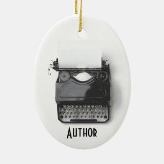 Alte Schreibmaschine für Autor, Journalist, Ovales Keramik Ornament
