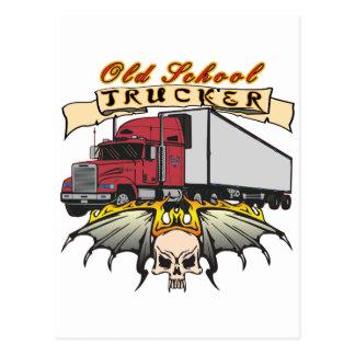 Alte Schul-LKW-Fahrer Postkarte
