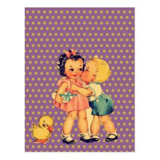 alte Schulretro Polkapunkte Kitsch Vintage Kinder Postkarte