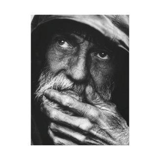 Alte Schwarzweiss-Porträt-Leinwand des armen Manne Galerie Gefaltete Leinwand