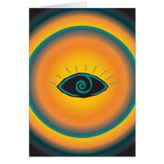 Alte sehende Augen-Stammes- Entwurfs-blaue Orange Karte