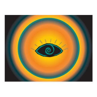 Alte sehende Augen-Stammes- Entwurfs-blaue Orange Postkarte