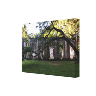 Alte Sheldon Kirche ruiniert Foto ausgedehnte Leinwanddruck