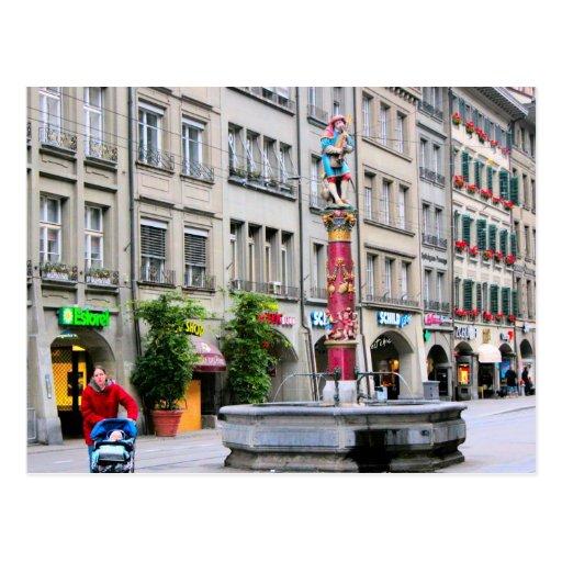 Alte Stadt Berns - mittelalterlicher Brunnen Postkarte