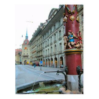 Alte Stadt Berns - verzierter Brunnen Postkarte