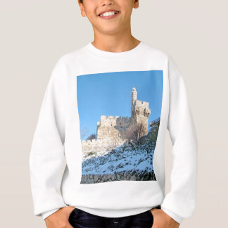 Alte Stadt Jerusalems, David-Turm unter Schnee Sweatshirt