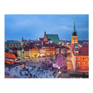 Alte Stadt von Warschau in Polen bis zum Nacht Postkarte
