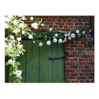 Alte Tür und Rosen Postkarte