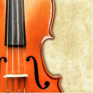 Alte Vintage antike Violinen-Foto-Skulptur Freistehende Fotoskulptur