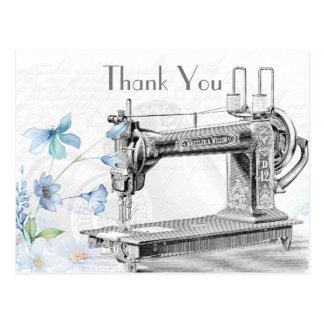 Alte Vintage Nähmaschine danken Ihnen Postkarte