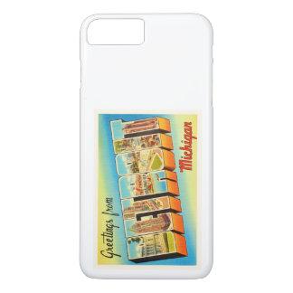 Alte Vintage Reise-Andenken Detroits Michigan MI iPhone 8 Plus/7 Plus Hülle