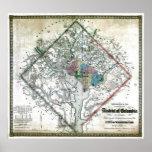 Alte Washington-Bezirk Columbia-Karte 1862 Poster