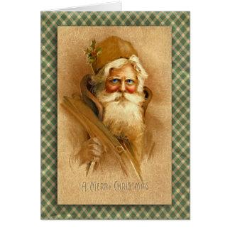 Alte Welt Weihnachtsmann in der Digital-Fraktal-Ku Grußkarte