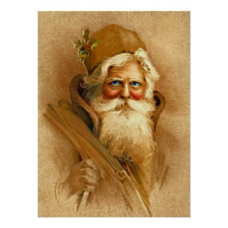 Alte Welt Weihnachtsmann, Vintages viktorianisches Poster