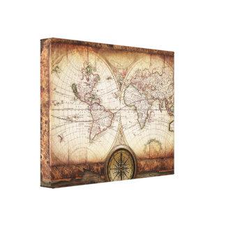 Alte Weltkarte und Kompass eingewickelte Leinwand Leinwand Drucke