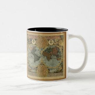 Alte Weltkarten-Tassen Zweifarbige Tasse