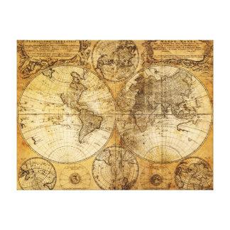 Alte Weltkontinent-Karten-Leinwanddruck des 17. Ja