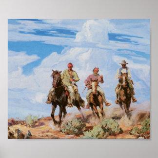 Alte Westcowboy-PferdeVintages Kunst-Plakat 1922 Poster