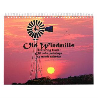 Alte Windmühlen: Öl-Farbmalereien Wandkalender