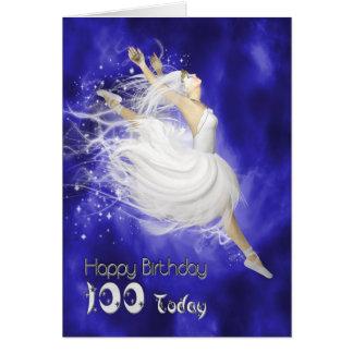 Alter 100, Ballerinageburtstagskarte springend Karte