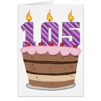 Alter 105 auf Geburtstags-Kuchen Karte