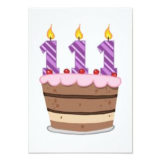 Alter 111 auf Geburtstags-Kuchen 12,7 X 17,8 Cm Einladungskarte