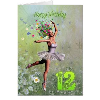 Alter 12, feenhafte Geburtstagskarte der Blume Karte