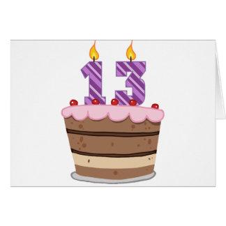 Alter 13 auf Geburtstags-Kuchen Karte