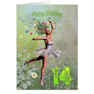 Alter 14, feenhafte Geburtstagskarte der Blume Karte