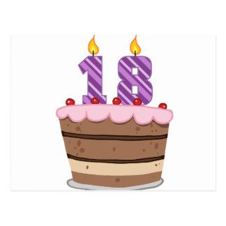 Alter 18 auf Geburtstags-Kuchen Postkarte