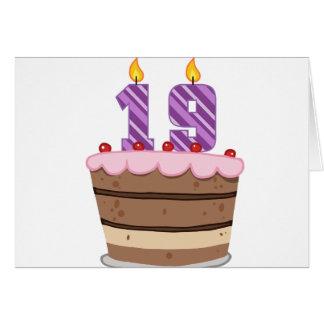 Alter 19 auf Geburtstags-Kuchen Karte