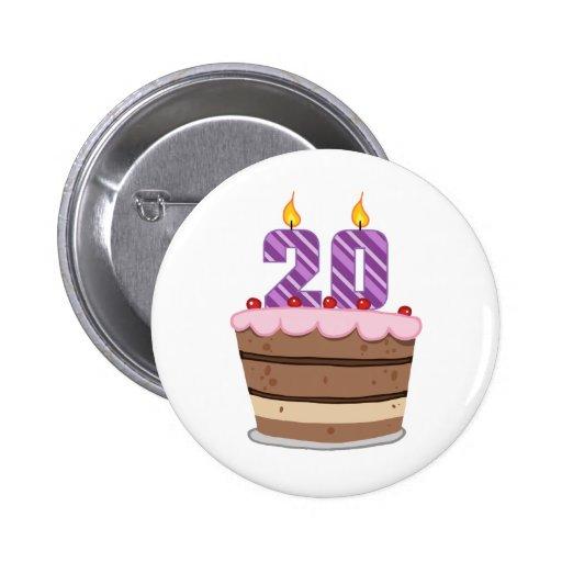 Alter 20 auf Geburtstags-Kuchen Anstecknadelbutton