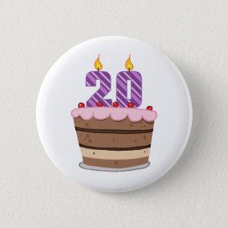 Alter 20 auf Geburtstags-Kuchen Runder Button 5,7 Cm