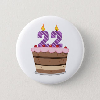 Alter 22 auf Geburtstags-Kuchen Runder Button 5,7 Cm